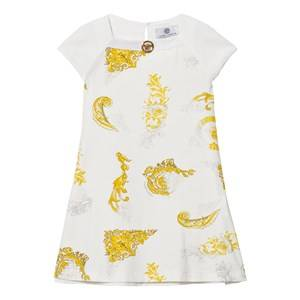 Young Versace Girls Dresses White White and Gold Baroque Print Dress with Medusa Detail