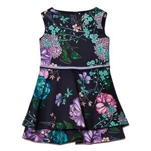 Young Versace Girls Dresses Navy Navy Ottoman Floral Dress