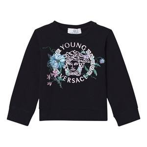 Young Versace Girls Jumpers and knitwear Navy Navy Medusa and Floral Embroidered Sweatshirt