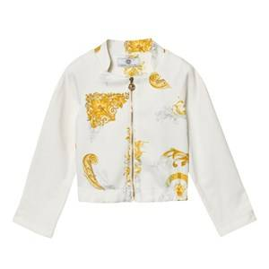 Young Versace Girls Coats and jackets White White and Gold Baroque Print Bomber Jacket