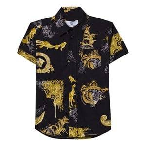 Young Versace Boys Tops Black Black and Gold Baroque Print Shirt