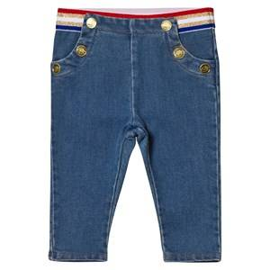 Little Marc Jacobs Girls Bottoms Blue Blue Soft Jeans with Stripe Waistband