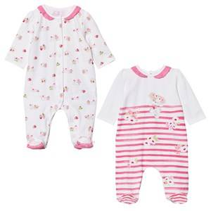 Mayoral Girls All in ones Pink 2 Pack of Footed Baby Body Pink White Puppy Stripe