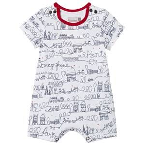 Catimini Boys All in ones White Red White Paris Scrible Shortall