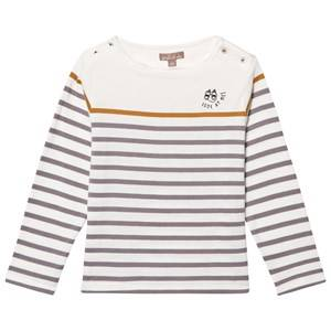 Emile et Ida Boys Jumpers and knitwear White Striped Sweater Rayure