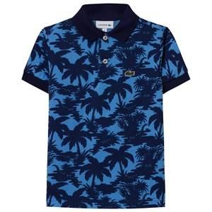 Lacoste Boys Tops Navy Navy and Blue Palm Print Pique Polo