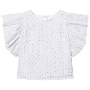 Kiss How To Kiss A Frog Girls Tops White Lua Blouse White Silver Dots