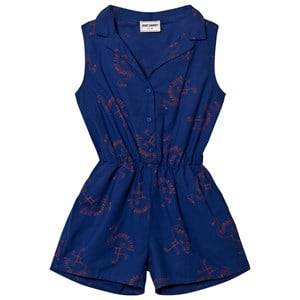 Bobo Choses Girls All in ones Blue Flamingos Tailor Romper Mazarine Blue