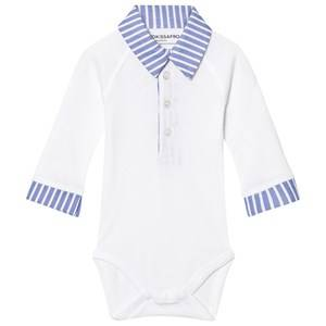 Kiss How To Kiss A Frog Unisex All in ones White Baby Body Style White And Sky Stripe