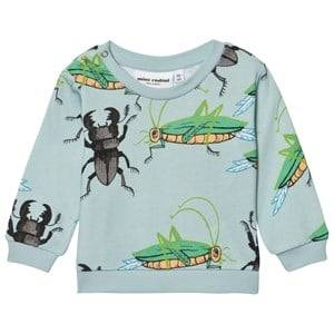 Mini Rodini Unisex Jumpers and knitwear Blue Insects Sweatshirt Light Blue