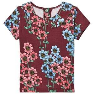 Mini Rodini Unisex Tops Red Daisy Collar Tee Burgundy