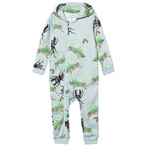 Mini Rodini Unisex All in ones Blue Insects Onesie Light Blue