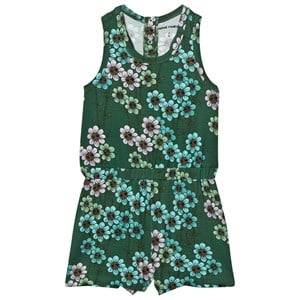 Mini Rodini Girls All in ones Green Daisy Romper Dark Green