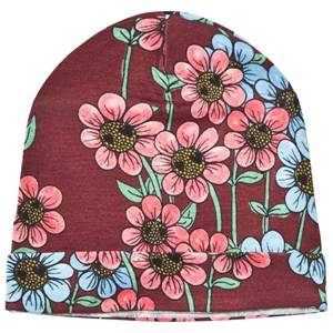 Mini Rodini Unisex Headwear Red Daisy Beanie Burgundy