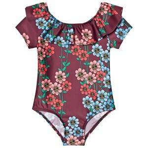 Mini Rodini Girls Swimwear and coverups Red Daisy Swimsuit Burgundy