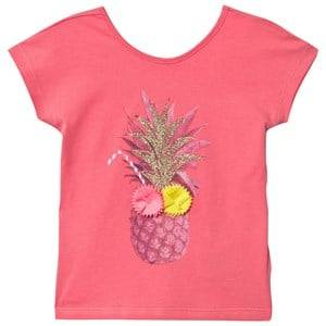 Billieblush Girls Tops Orange Coral Pinapple Applique Tee with Heart Back