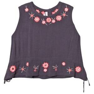 Kiss How To Kiss A Frog Girls Tops Grey Drew Top Grey Embroidery