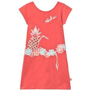 Billieblush Girls Dresses Pink Coral Jersey Dress with Sequin Pineapple Print