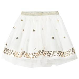 Billieblush Girls Skirts White Off White Sequin Spot Tutu Skirt