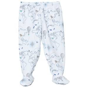 Livly Boys Bottoms White Footed Pants Blue World Map