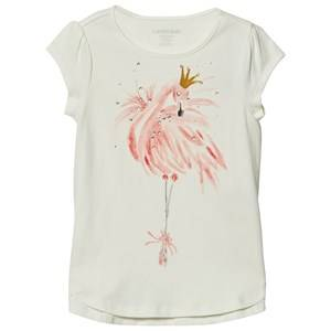 Lands End Girls Tops White White Flamingo Embellished Graphic Tee