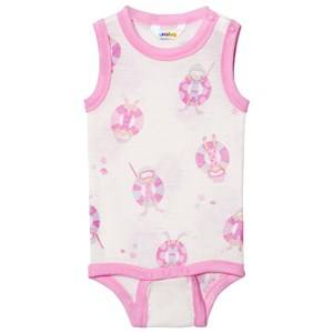 Joha Girls All in ones Pink Sleeveless Baby Body Pink Beach Life Print