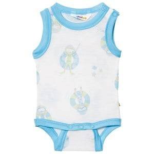 Joha Girls All in ones Blue Sleeveless Baby Body Blue Beach Life Print