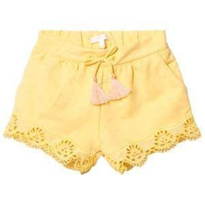 Chloé Girls Shorts Yellow Yellow Broderie Anglaise Hem Shorts