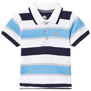 Timberland Boys Tops Blue Stripe Jersey Polo Pacific Blue, Navy and White