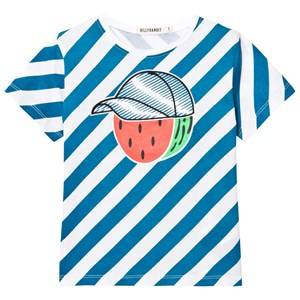 Billybandit Boys Tops Blue Blue Stripe Mr Watermelon Print Tee