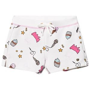 Juicy Couture Girls Shorts White White Multi Food and Music Print Jersey Shorts