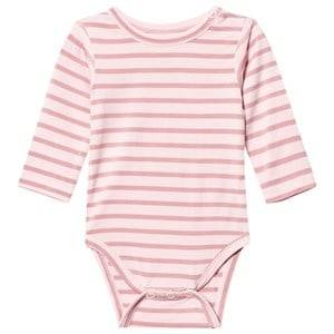 Hust&Claire; Girls All in ones Pink Striped Baby Body Bamboo Rose Tan