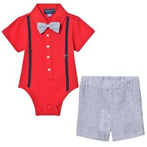 Andy & Evan Boys Clothing sets Red Red Polo Shirtzie, Bow Tie and Shorts Set