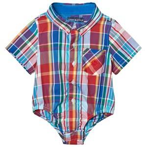 Andy & Evan Boys Tops Multi Red and Blue Madras Button Down Shirtzie