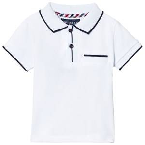Andy & Evan Boys Tops White White Polo with Navy Ribbing