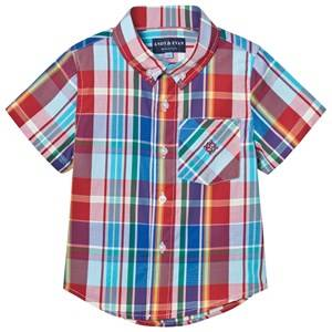 Andy & Evan Boys Tops Multi Red and Blue Madras Button Down Shirt