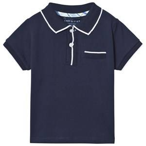 Andy & Evan Boys Tops Navy Navy Polo with White Ribbing