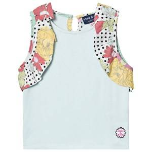 Andy & Evan Girls Tops Blue Aqua Top with Multi Ruffle Sleeves