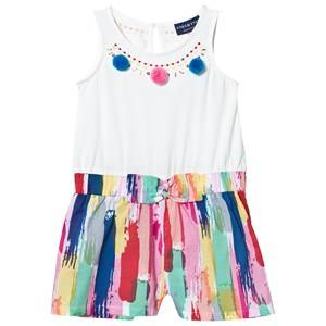 Andy & Evan Girls All in ones Multi White and Multi Paint Stroke Romper