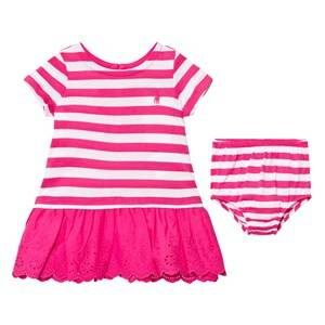 Ralph Lauren Girls Dresses Pink Pink Stripe Tee Dress Bloomers