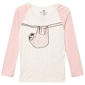 Noe & Zoe Berlin Girls Tops Pink Pink and Ecru Hanging Sloth Print Raglan Tee