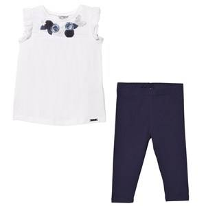 Mayoral Girls Clothing sets Navy White and Navy Lace Vest and Leggings Set