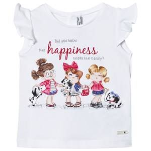 Mayoral Girls Tops White White Puppies and Girls Print Tee