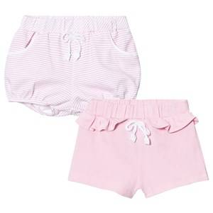 Mayoral Girls Shorts Pink 2 Pack of Pink Stripe and Solid Jersey Shorts