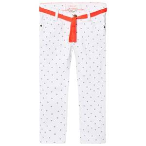 Cyrillus Girls Bottoms Cream White Jeans with Blue Star Print