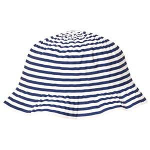 Grevi Girls Headwear Blue Blue and White Sun Hat with Spot Bow