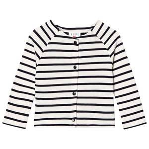 Cyrillus Girls Jumpers and knitwear White White and Navy Stripe Jersey Cardigan