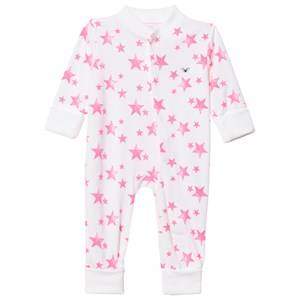 Livly Girls All in ones White Overall Hot Pink Stars
