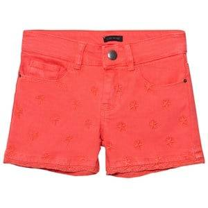 IKKS Girls Shorts Orange Coral Star Embroidered Denim Shorts