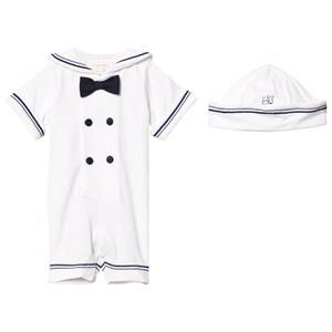 Emile et Rose Boys All in ones White Kenneth White and Navy Sailor Romper and Hat Set